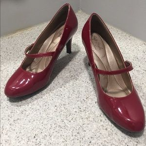 Hush Puppies, Soft Style, red patent Mary Janes